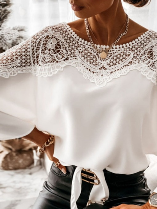 Plain Hollow Batwing Sleeve Round Neck Mid-Length Women's Blouse