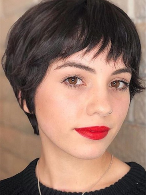 Pixie Haircuts for Thick Hair Natural Straight Human Hair With Bangs Capless 10 Inches 120% Wigs