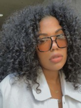 Medium Hairstyles African American Women's Afro Curly Human Hair Capless 120% 16 Inches Wigs