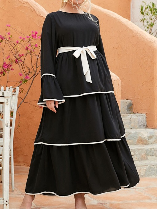 Round Neck Patchwork Ankle-Length Long Sleeve Layered Dress Women's Dress