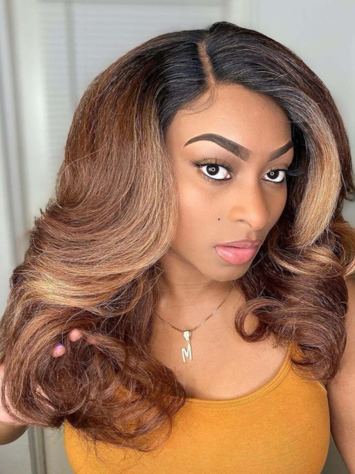 African American Women's Ombre Color Wavy Human Hair Lace Front 120% 18 Inches Wigs