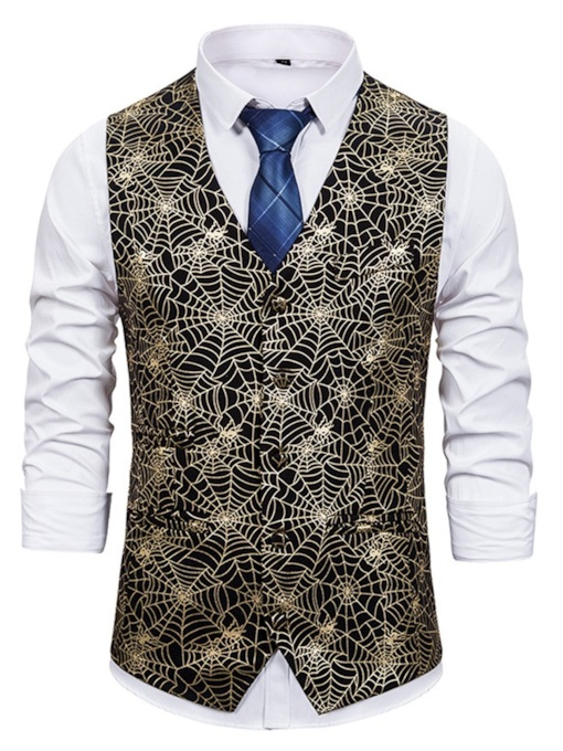 Patchwork Geometric V-Neck Single-Breasted Men's Waistcoat