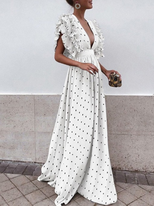 Cap Sleeve V-Neck Print Floor-Length High Waist Women's Dress