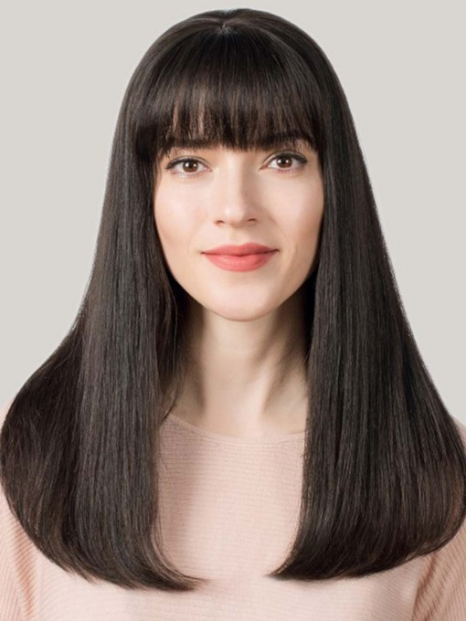Women's Long Straight Bob Hairstyles Straight Human Hair Capless Wigs With Bangs 120% 26 Inches Wigs
