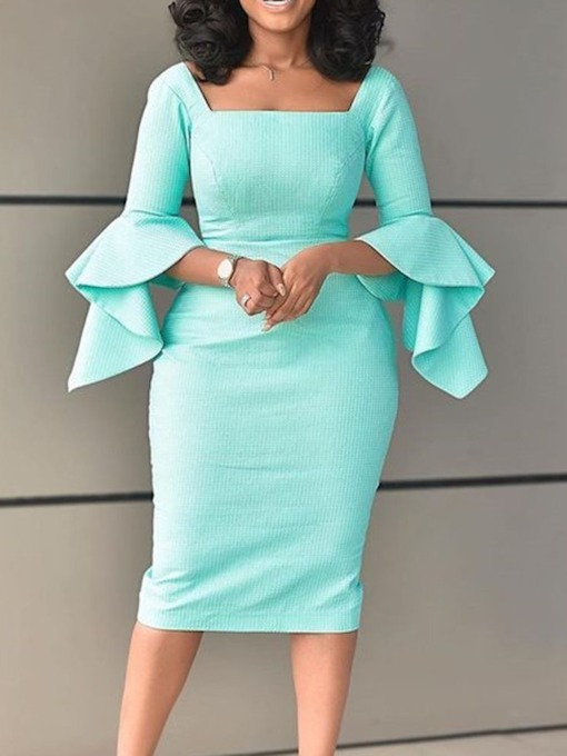 Mid-Calf Square Neck Falbala Long Sleeve Pullover Women's Dress