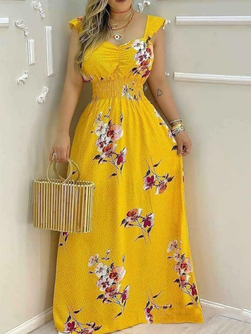 Fashion Print Floor-Length Cap Sleeve Floral Women's Dress