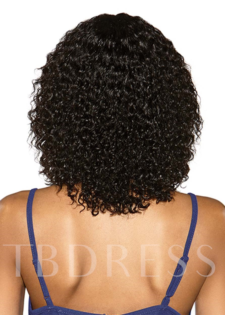 Medium Hairstyles Women's Kinky Curly Bangs Style Human Hair Capless 120% 16 Inches Wigs