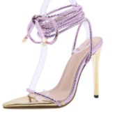 Pointed Toe Lace-Up Patchwork Sandals
