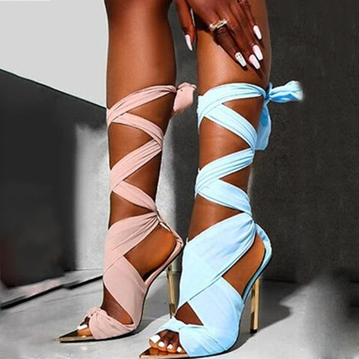 Lace-Up Pointed Toe Patchwork Sandals
