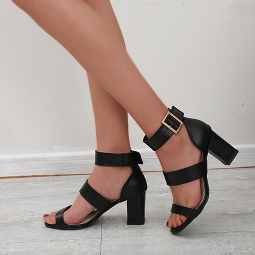 Round Toe Chunky Heel Ankle Strap Buckle Low-Cut Upper Sandals