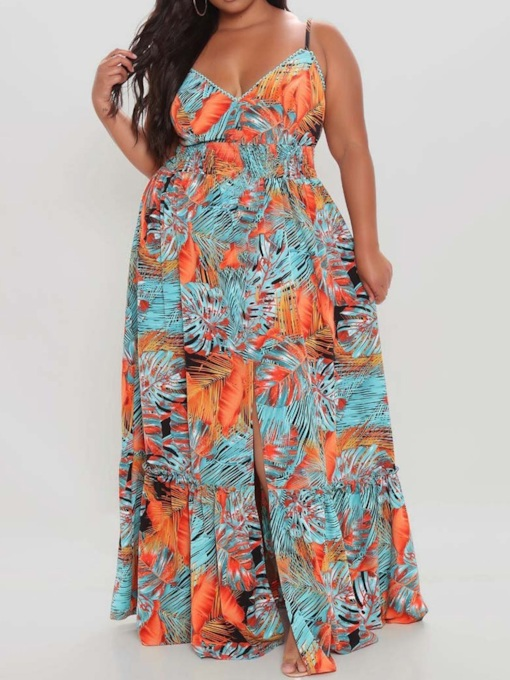 Plus Size V-Neck Print Floor-Length Sleeveless Pullover Women's Dress
