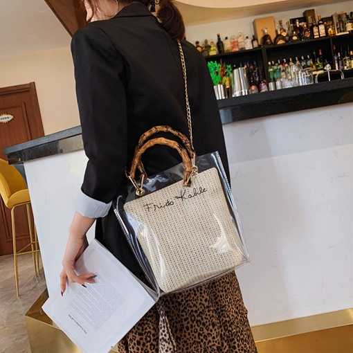 Knitted Fashion Letter Tote Bags