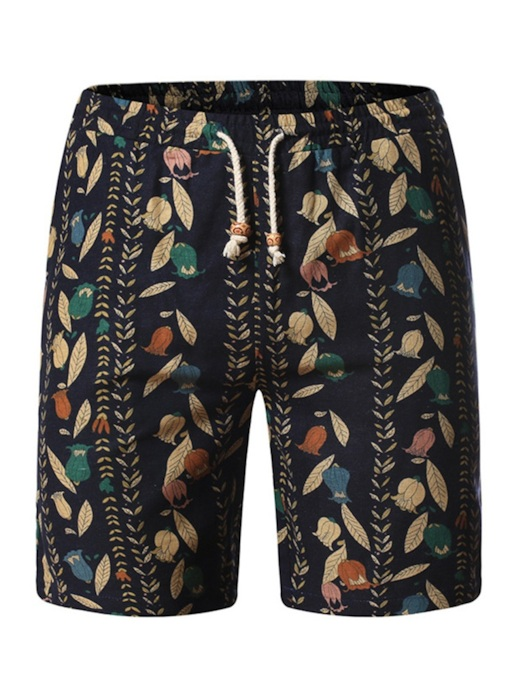 pantalones cortos de playa de hombre de cintura media simple con estampado floral recto