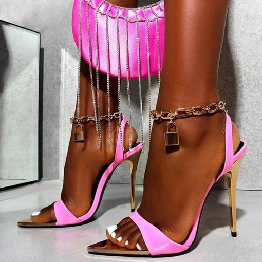 Buckle Pointed Toe Stiletto Heel Buckle Chain Sandals