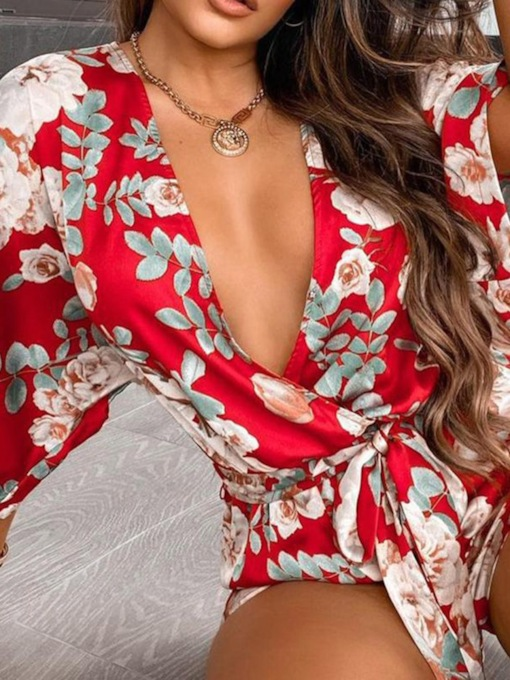Print Shorts Sexy Floral Loose Women's Jumpsuit