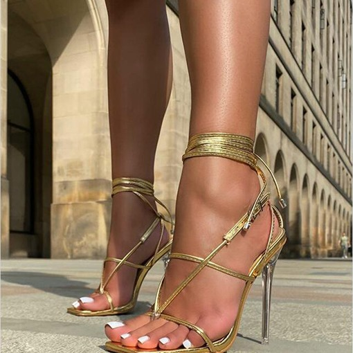 Square Toe Stiletto Heel Lace-Up Western Sandals