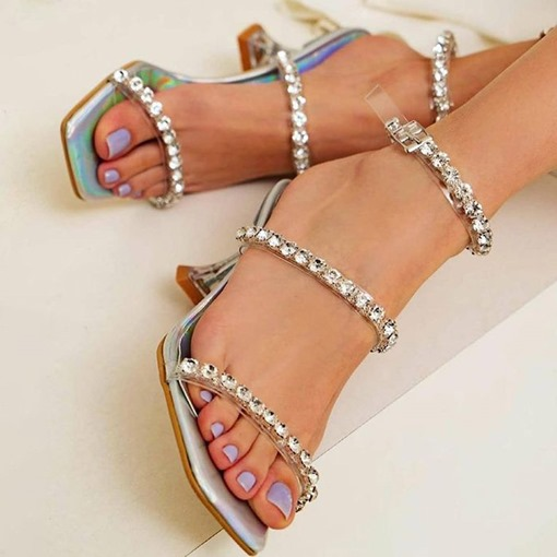 Stiletto Heel Buckle Square Toe Patchwork Sandals