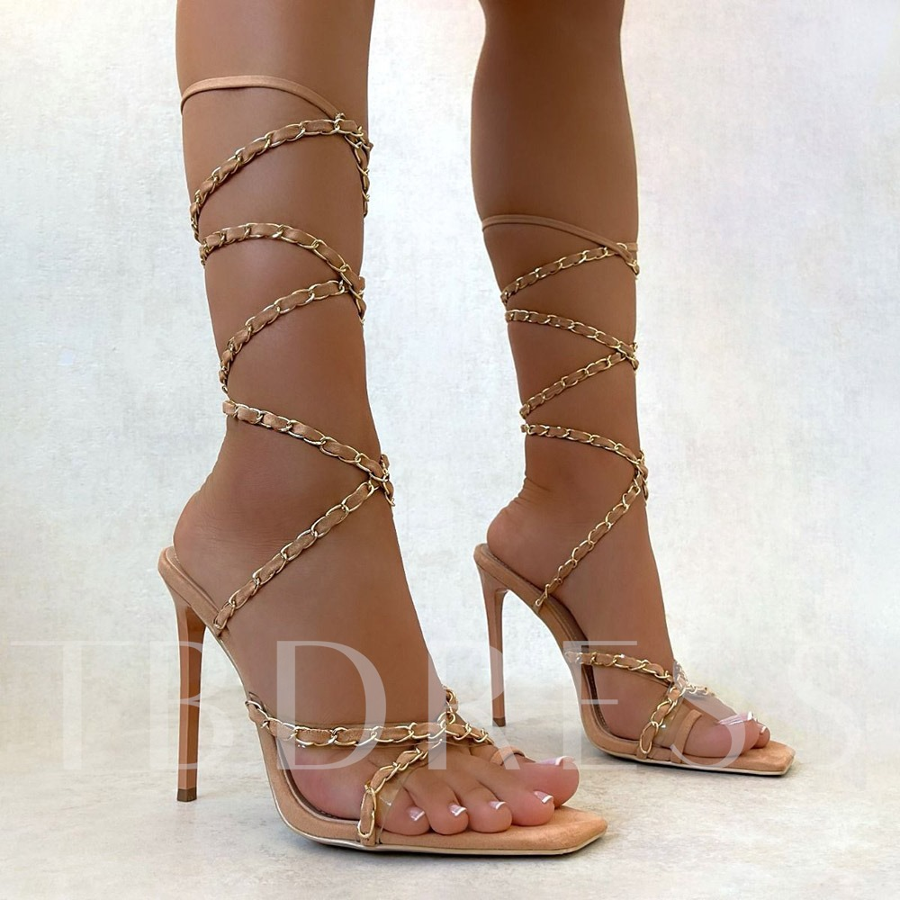 Lace-Up Square Toe Western Sandals
