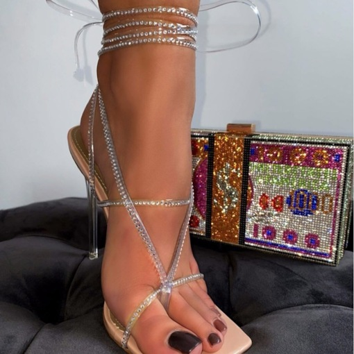 Stiletto Heel Line-Style Buckle Square Toe Patchwork Sandals
