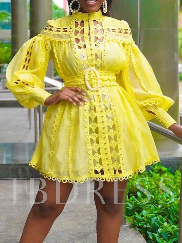 Plus Size Above Knee Long Sleeve Stand Collar Hollow A-Line Women's Dress