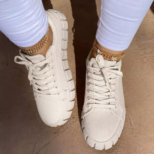 Cross Strap Round Toe Lace-Up Low-Cut Upper Color Block Sneakers