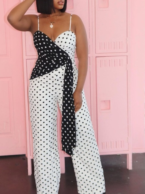 Sexy Color Block Full Length Print Straight Women's Jumpsuit