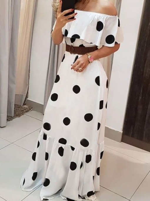 Patchwork Half Sleeve Off Shoulder Floor-Length Polka Dots Women's Dress