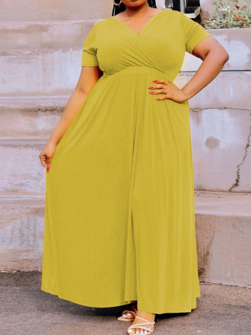 Plus Size Floor-Length V-Neck Short Sleeve Pullover Women's Dress