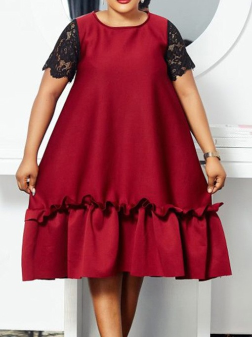 Plus Size Lace Mid-Calf Short Sleeve Round Neck Summer Women's Dress
