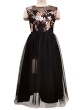 Sleeveless Embroidery Round Neck Mid-Calf Floral Women's Dress