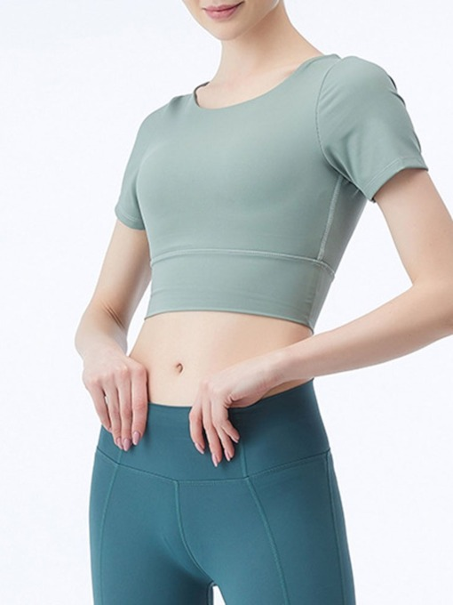 Solid Patchwork Anti-Sweat Pullover Short Sleeve Yoga Tops