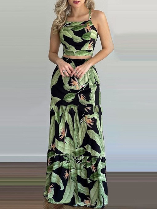 Plant Patchwork Western Skirt Pullover Women's Two Piece Sets