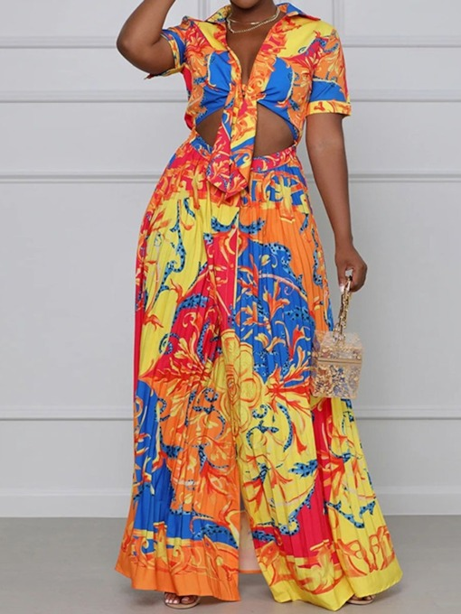 Print Sexy Shirt Floral Pleated Women's Two Piece Sets