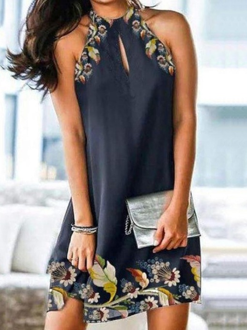 Print Floral Sleeveless Above Knee Casual Women's Dress