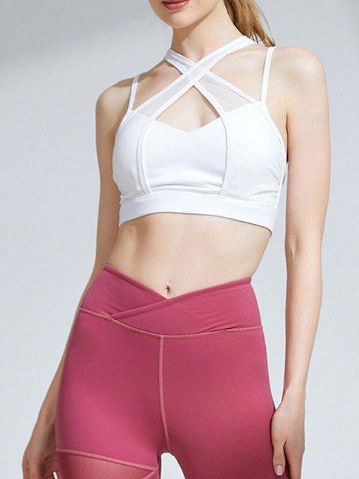 Solid Patchwork Anti-Sweat Sleeveless Pullover Yoga Tops