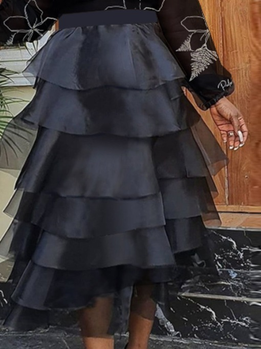 Ball Gown Ankle-Length Plain Patchwork Casual Women's Skirt
