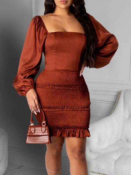 Long Sleeve Above Knee Square Neck Backless Sexy Women's Dress