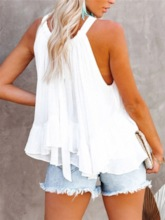 Polyester Summer Stringy Selvedge Standard Halter Top Plus Size Women's Tank Top