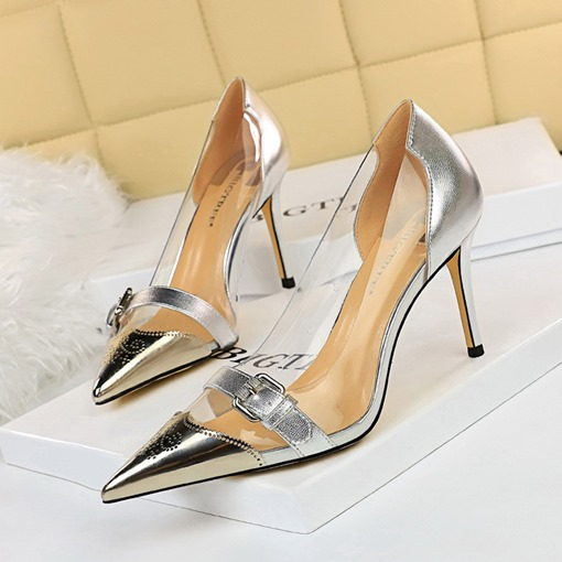 Slip-On Buckle Stiletto Heel Pointed Toe Western Thin Shoes