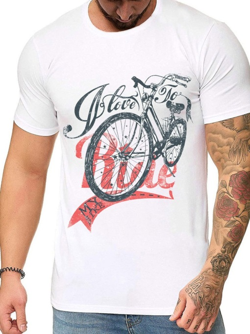 Print Round Neck Letter Casual Loose Short Sleeve Men's T-shirt