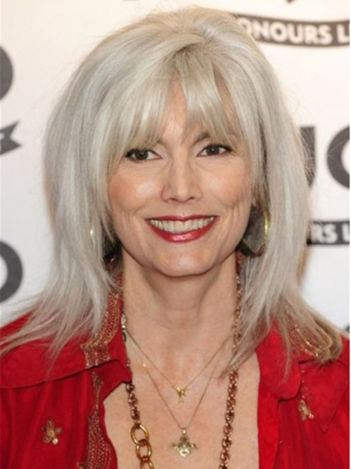 Shoulder Length Grey Hair Wig Straight Human Hair With Bangs 120% 18 Inches Wigs