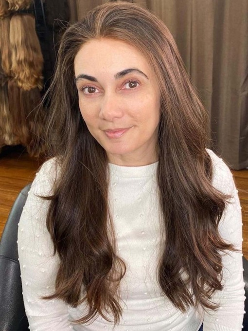 Natural Looking Women's Long Length Natural Straight Synthetic Hair Capless 130% 24 Inches Wigs