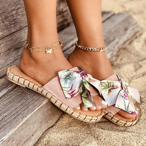 Bow Flip Flop Flat With Slip-On Summer Slippers