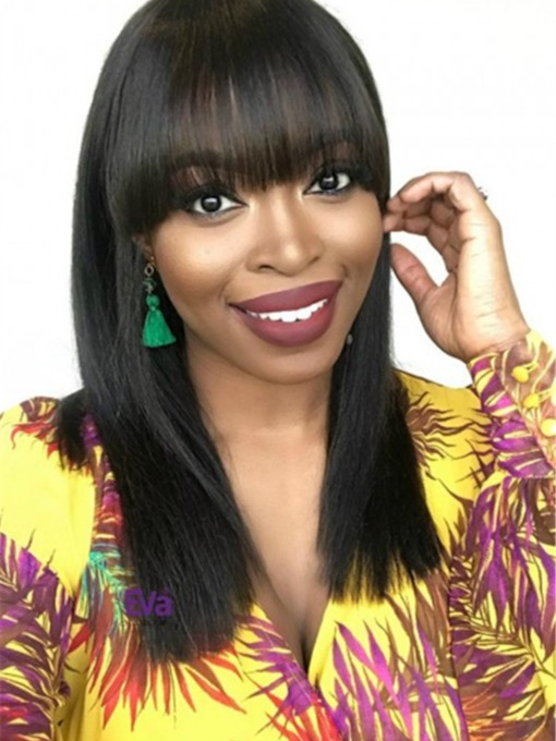 Simple Straight Full Bangs Hairstyle Straight Human Hair Capless 120% 22 Inches Wigs