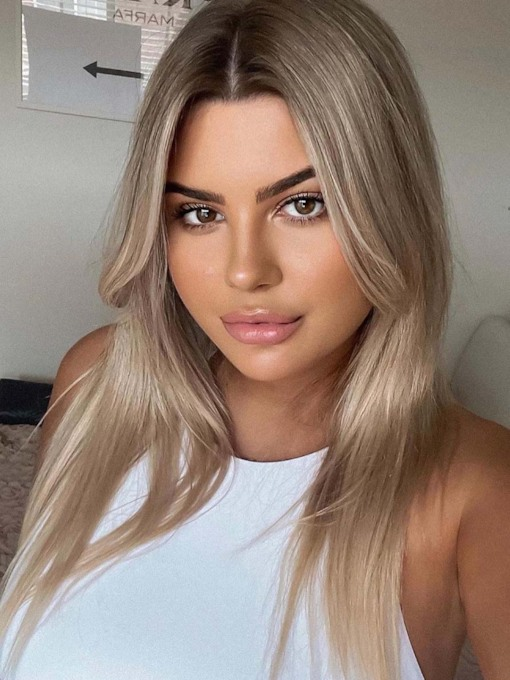 Natural Looking Women's Medium Hairstyles Straight Synthetic Hair Capless 130% 20 Inches Wigs