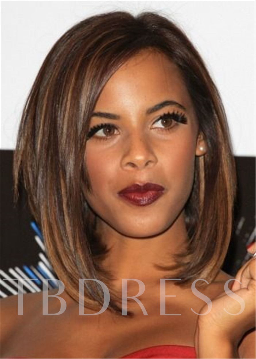 Mix Color Straight Bob Hairstyle Synthetic Hair Capless Women 120% 16 Inches Wigs