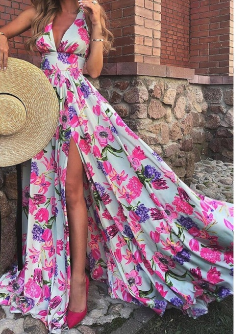 Sleeveless Print V-Neck Floor-Length Sweet Women's Dress