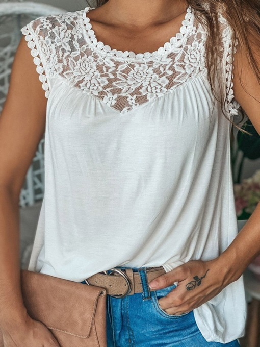 Lace I-Shaped Summer Polyester Mid-Length Women's Tank Top