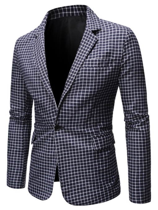One Button Plaid Slim Button Men's Blazer