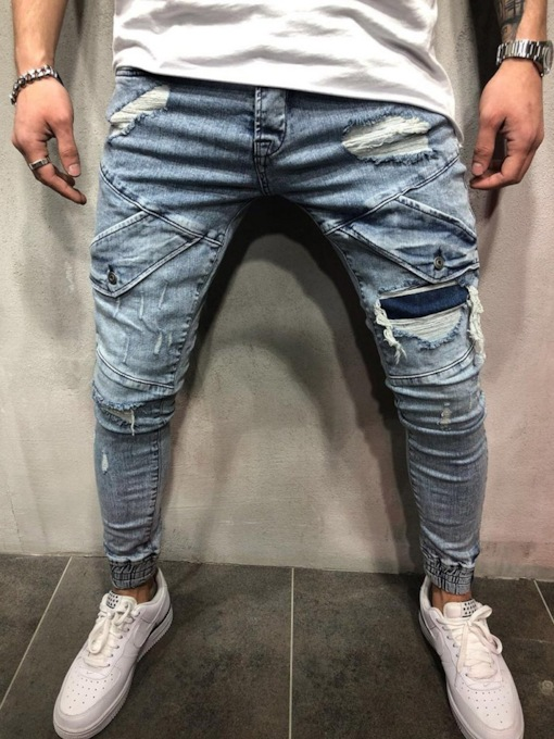 Worn Pencil Pants Korean Slim Men's Jeans